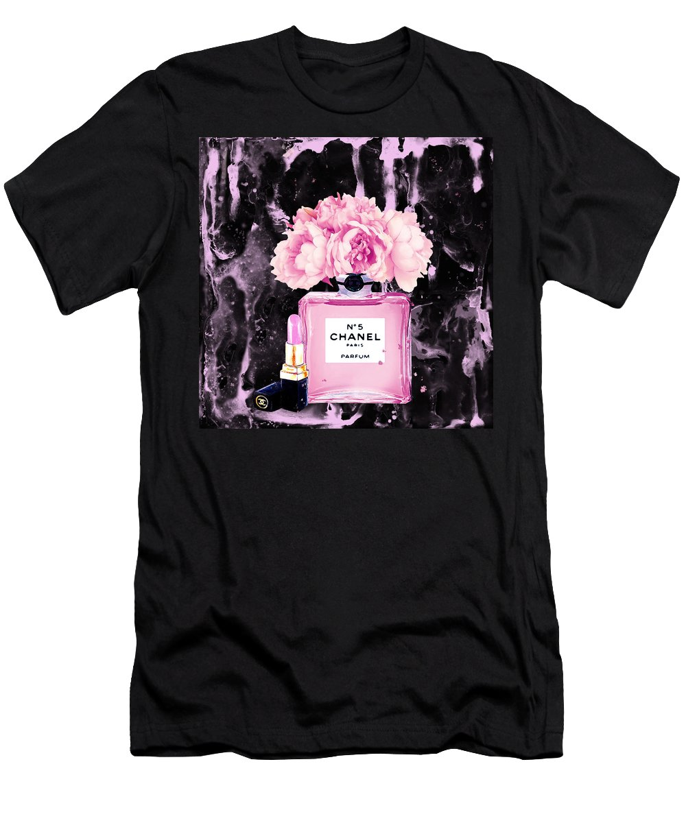 f87d6f130 Chanel Print Chanel Poster Chanel Peony Flower Black Watercolor T-Shirt for  Sale by Del Art
