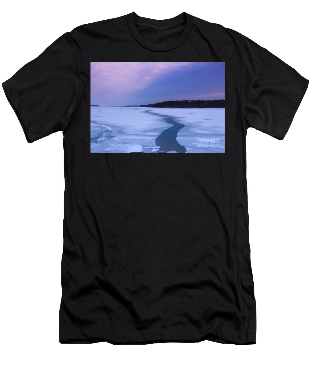 Frozen Men's T-Shirt (Athletic Fit) featuring the photograph Channel Through The Ice by Amy Sorvillo