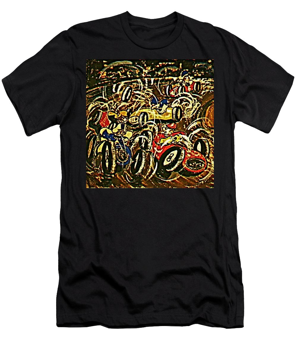 Race Cars Pile Up Men's T-Shirt (Athletic Fit) featuring the painting Chaos On The Track by Frank Hunter
