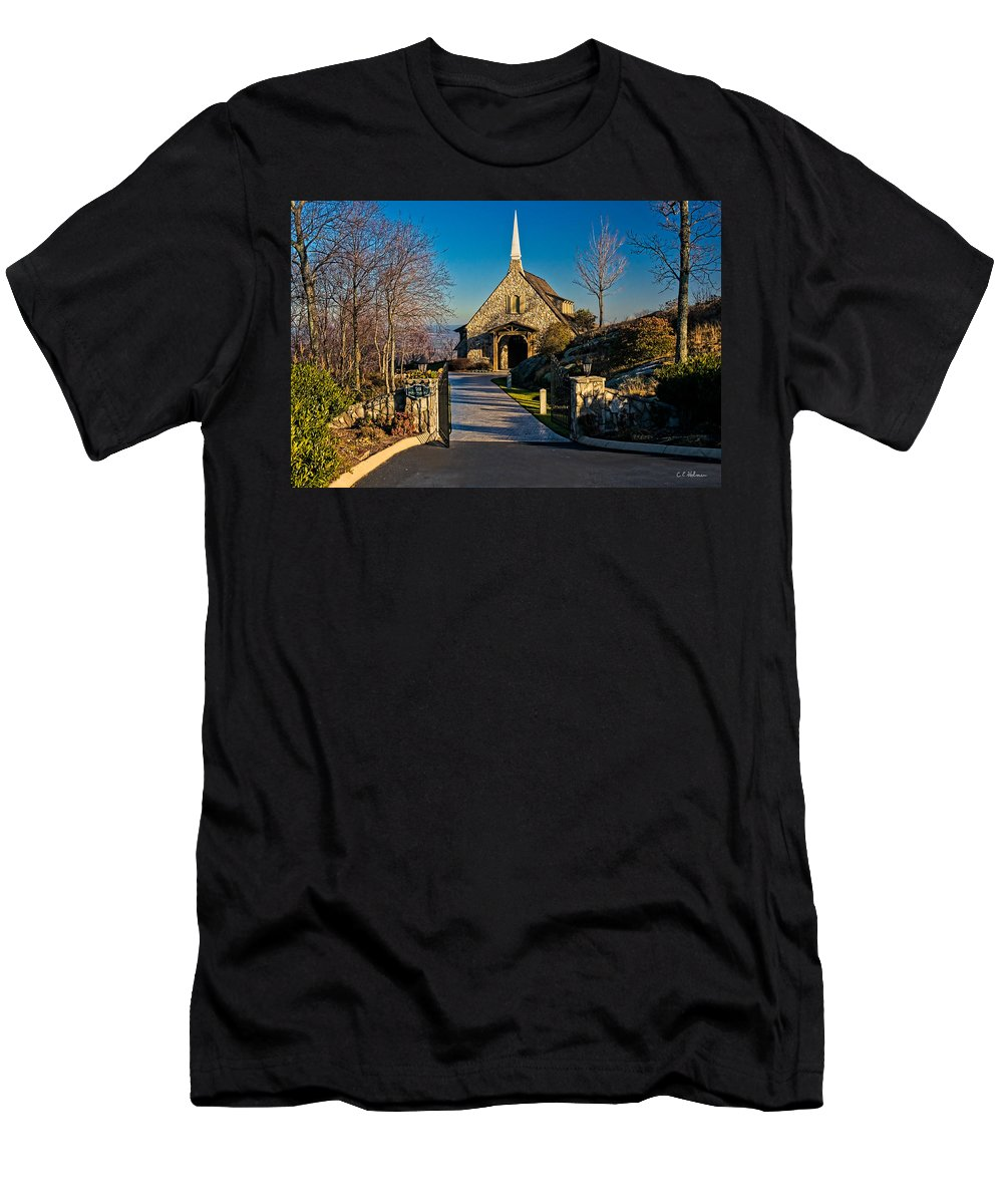 Chapel Men's T-Shirt (Athletic Fit) featuring the photograph Chapel At Glassy by Christopher Holmes