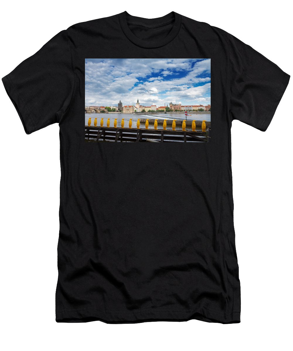 Prague Men's T-Shirt (Athletic Fit) featuring the photograph Charles Bridge And Penguines by Anastasy Yarmolovich