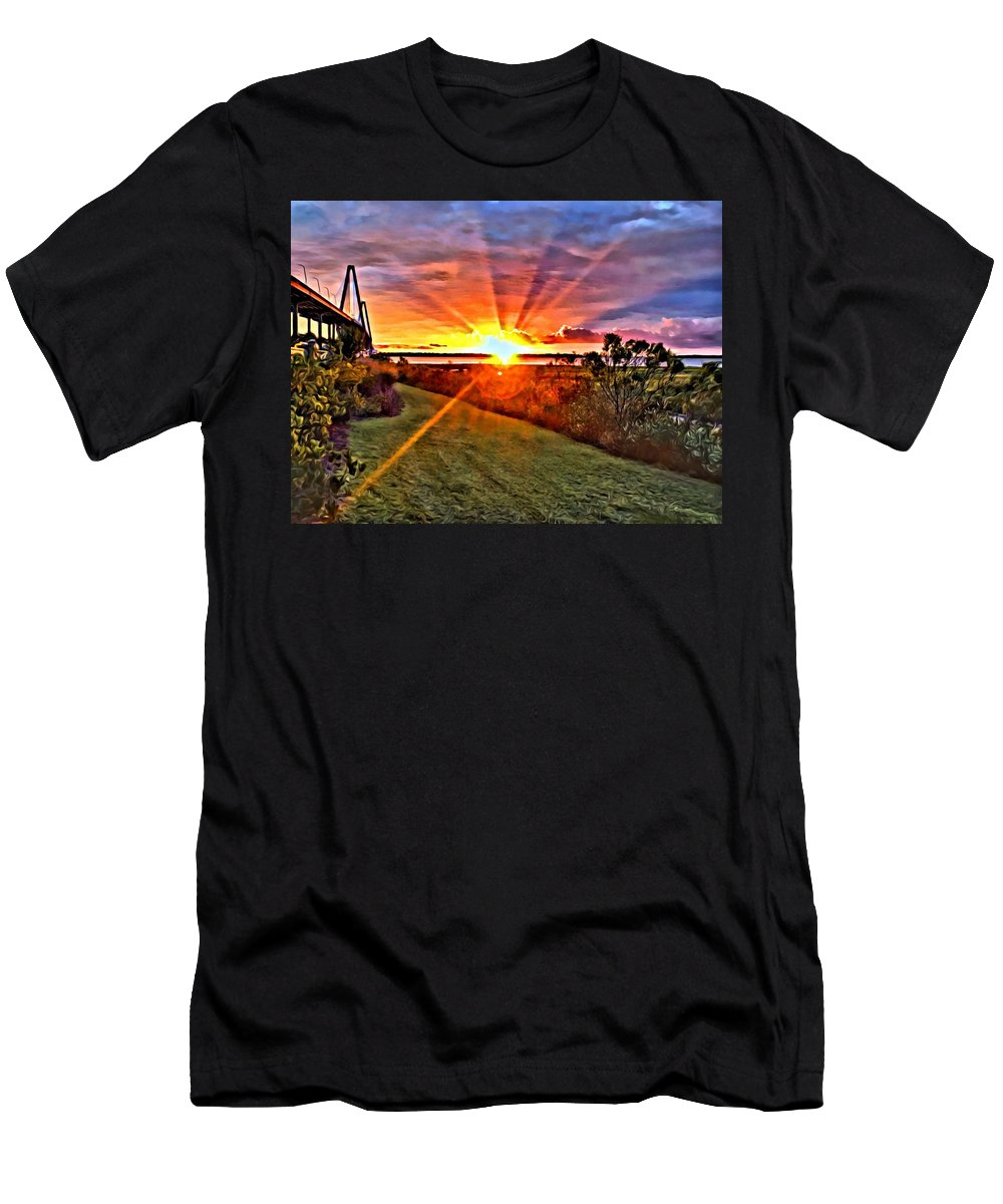 Men's T-Shirt (Athletic Fit) featuring the digital art Charleston Sunset by Southern Flavor