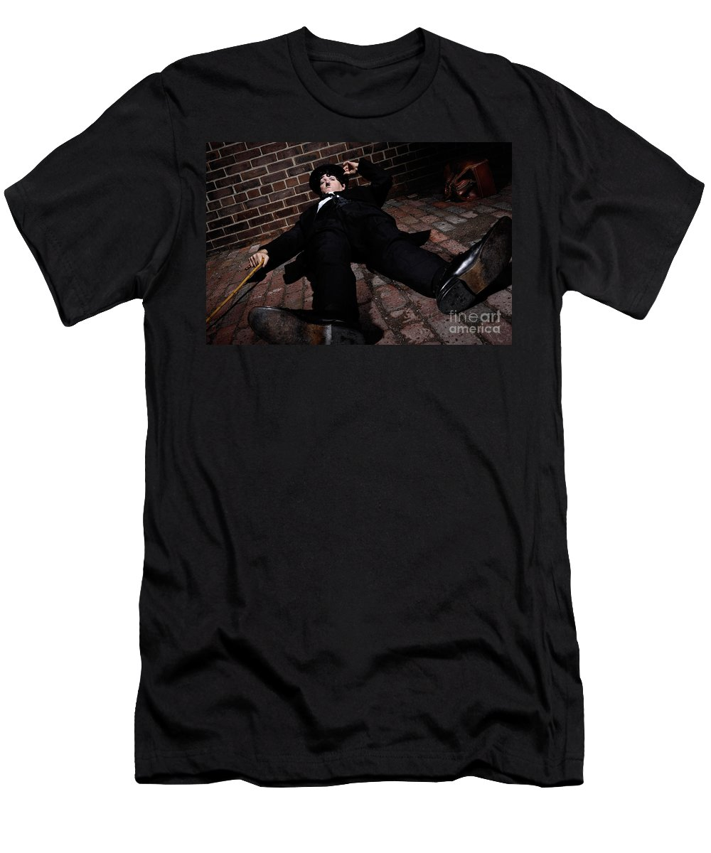 Charlie Chaplin Men's T-Shirt (Athletic Fit) featuring the photograph Charlie Chaplin by Oleksiy Maksymenko
