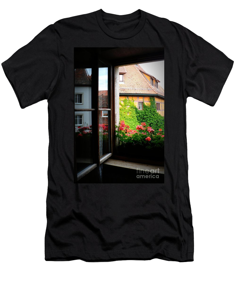 Europe Men's T-Shirt (Athletic Fit) featuring the photograph Charming Rothenburg Window by Carol Groenen