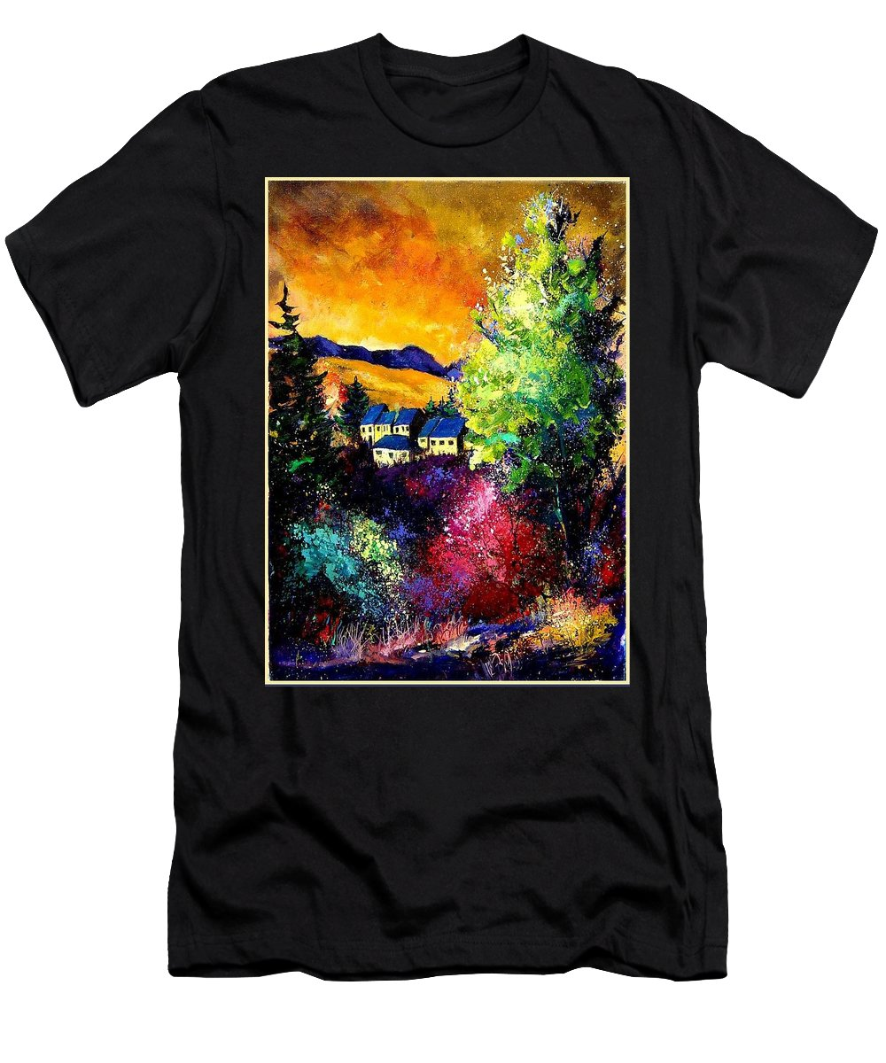 Landscape Men's T-Shirt (Athletic Fit) featuring the painting Charnoy by Pol Ledent