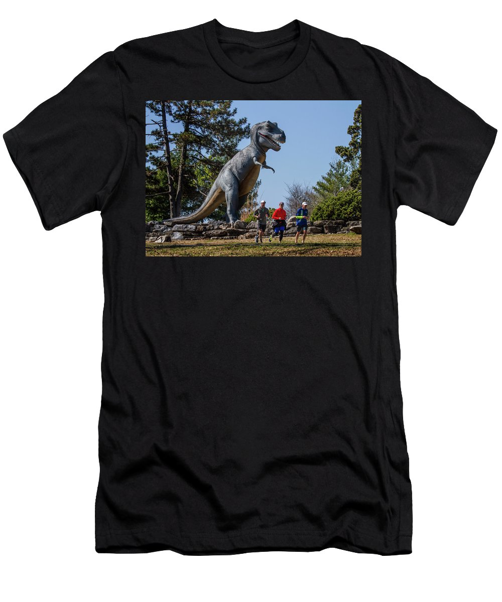 Forest Park Men's T-Shirt (Athletic Fit) featuring the photograph Chasing Humans Through Forest Park by Garry McMichael