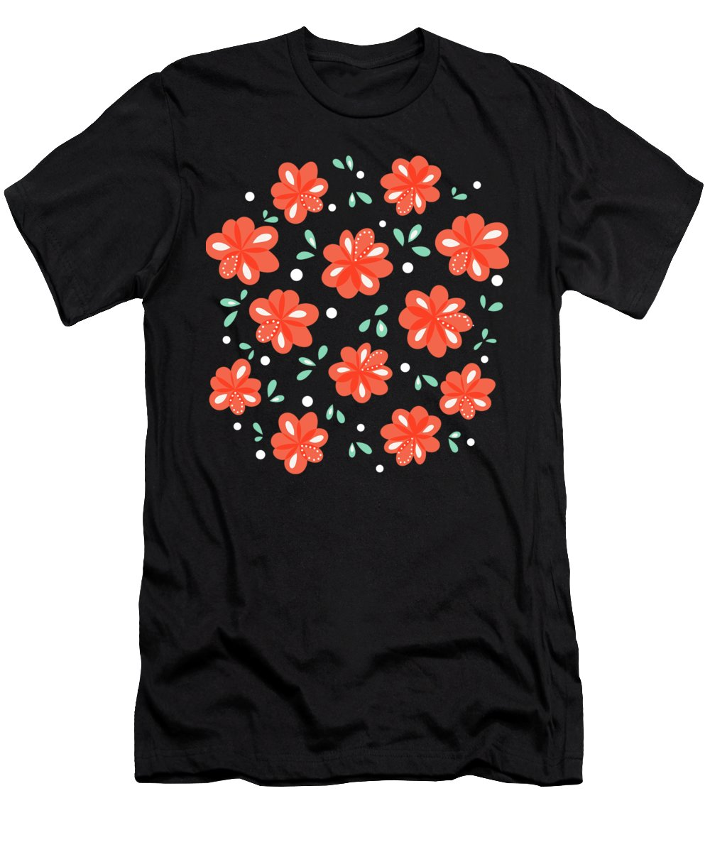 Floral Men's T-Shirt (Athletic Fit) featuring the digital art Cheerful Red Flowers by Boriana Giormova