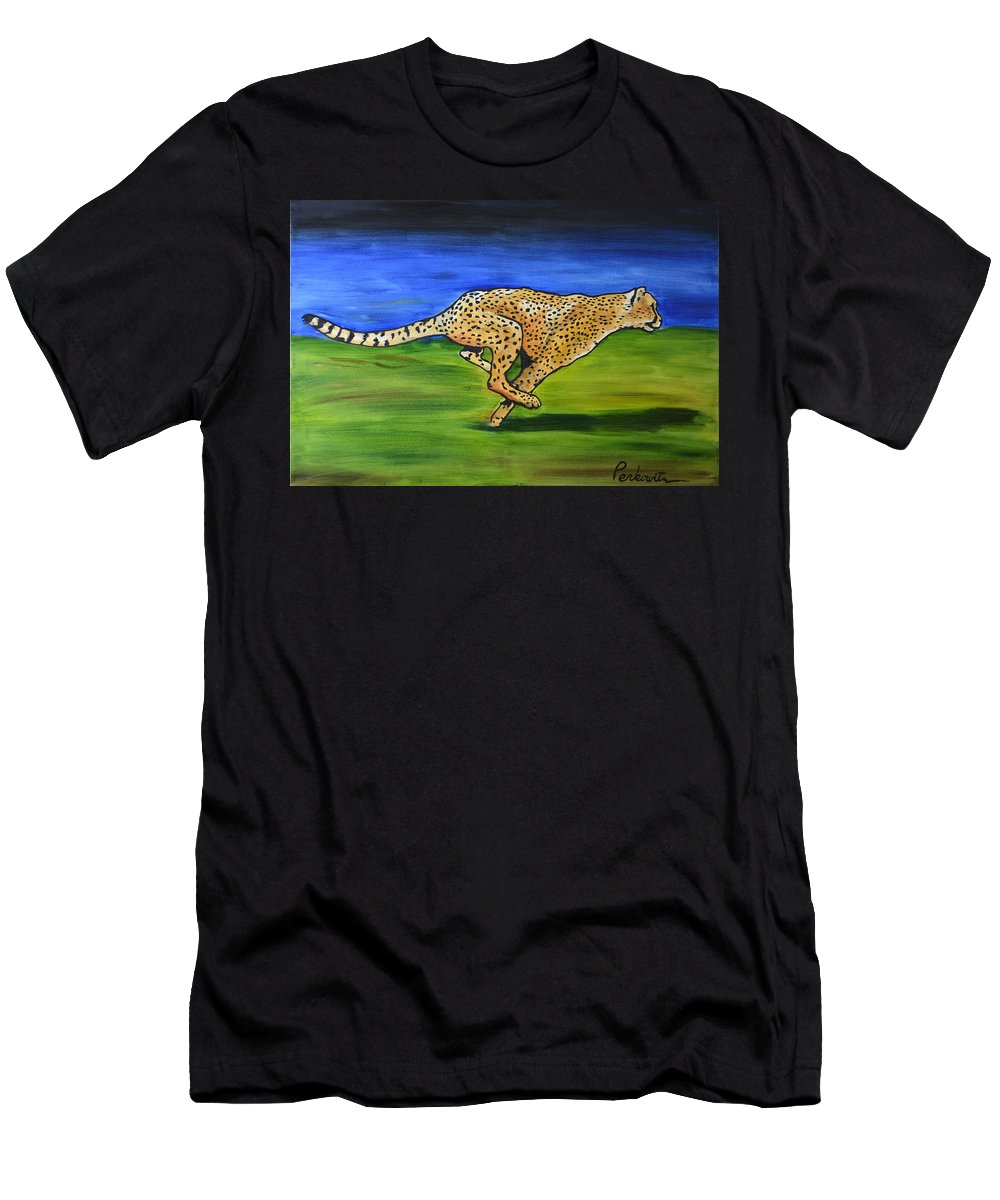 Cheetah Men's T-Shirt (Athletic Fit) featuring the painting Cheetah Running by Tom Perkowitz