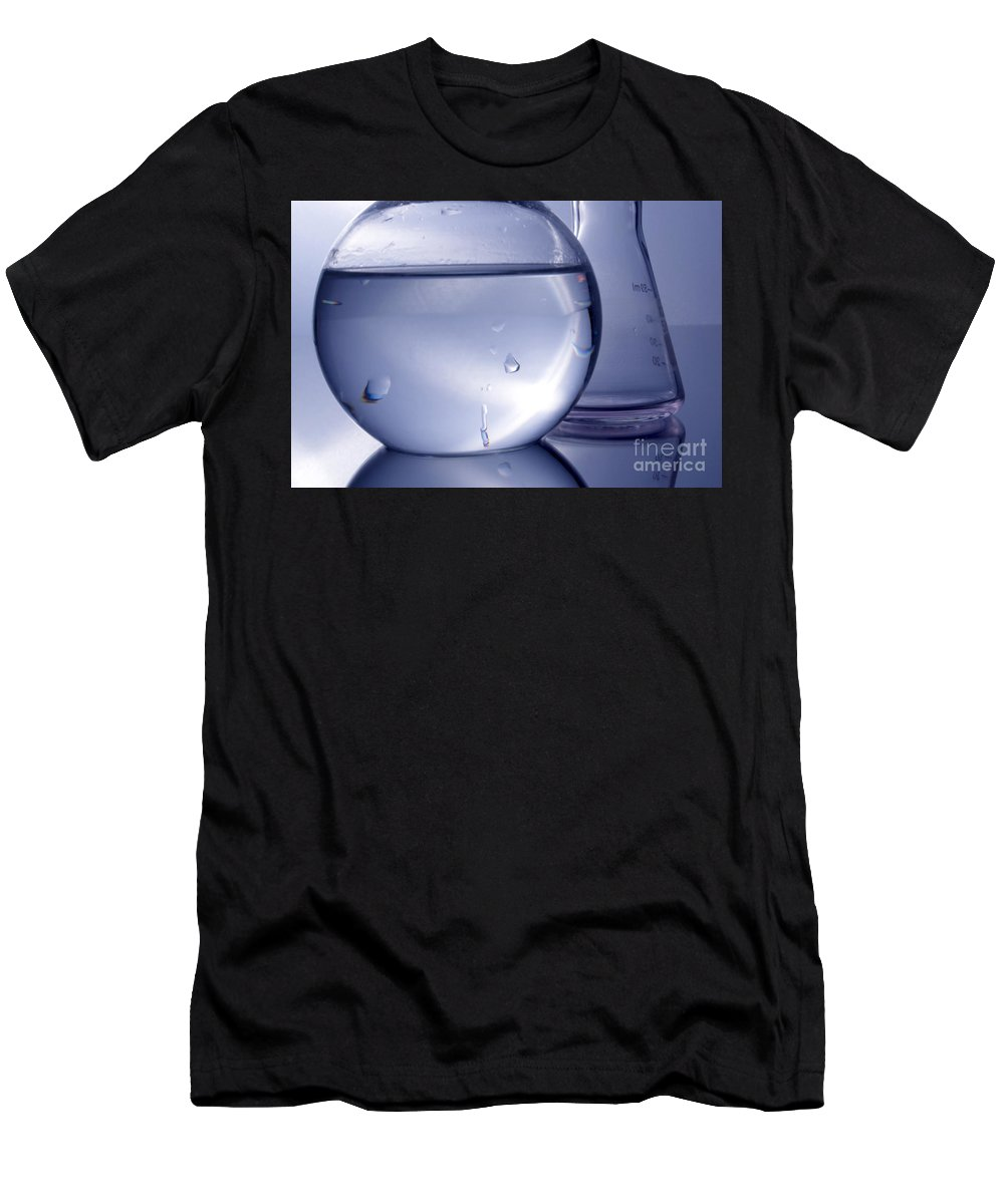 Chemistry Men's T-Shirt (Athletic Fit) featuring the photograph Chemistry Beakers Blue by Michelle Himes
