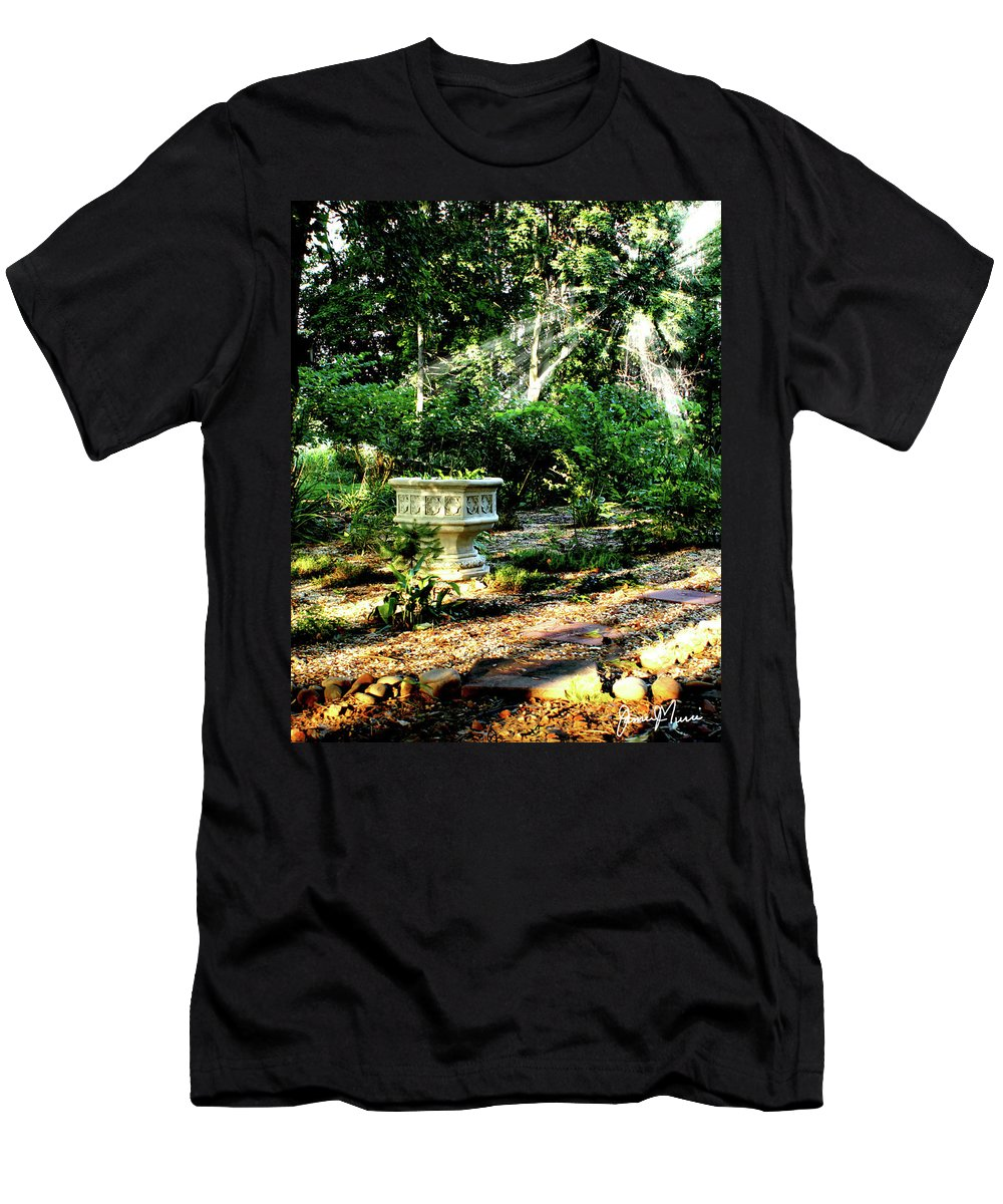 Outdoor Scene Men's T-Shirt (Athletic Fit) featuring the photograph Cherie's Garden by Jim Turri