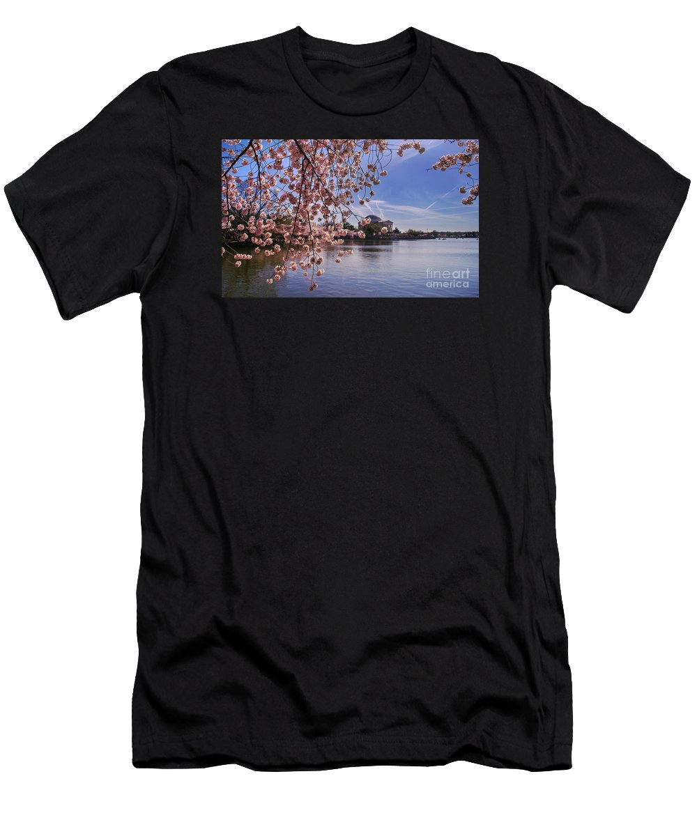 Cherry Blossom Men's T-Shirt (Athletic Fit) featuring the photograph Cherry Blossom Over Tidal Basin by Rima Biswas