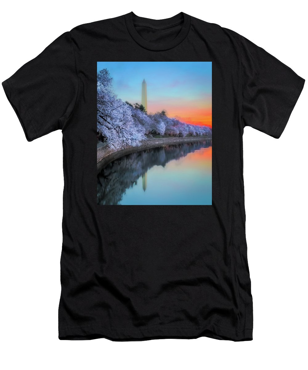 Cherry Blossoms Men's T-Shirt (Athletic Fit) featuring the photograph Cherry Blossom Sunrise by Xavier Ascanio