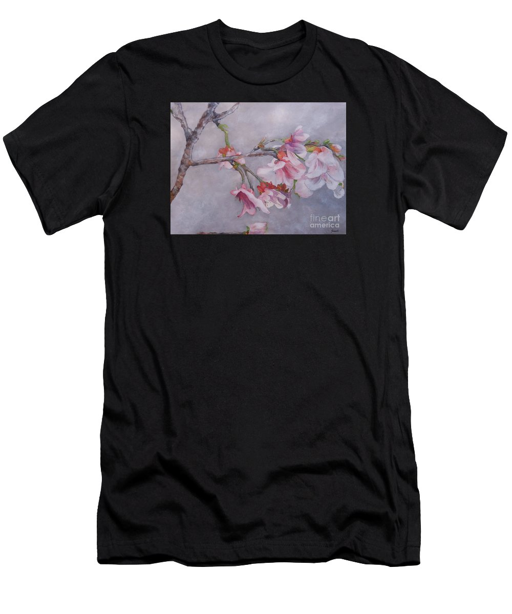 Japanese Cherry Blossom Men's T-Shirt (Athletic Fit) featuring the painting Japanese Cherry Blossom Tree by Graciela Castro