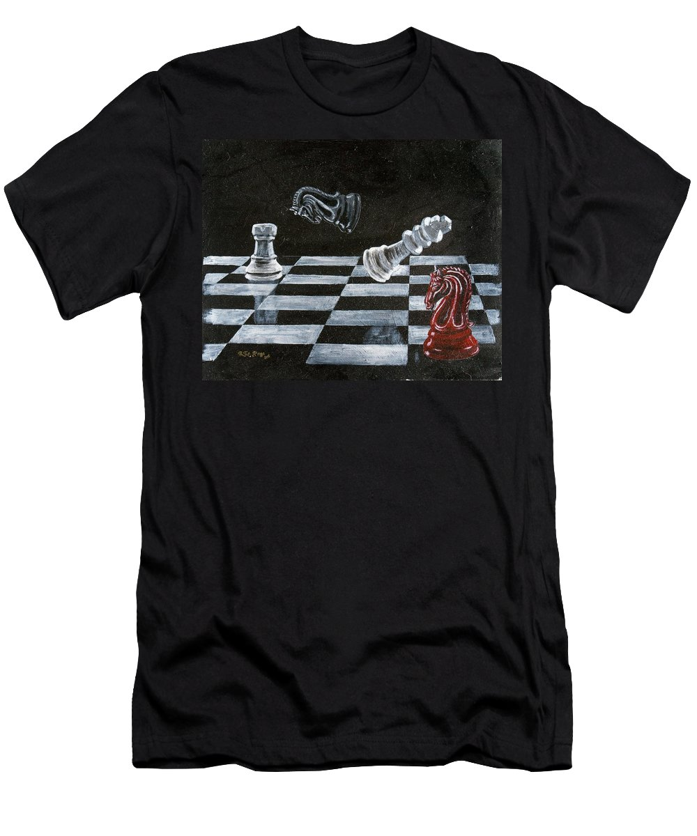 Chess Men's T-Shirt (Athletic Fit) featuring the painting Chess by Richard Le Page