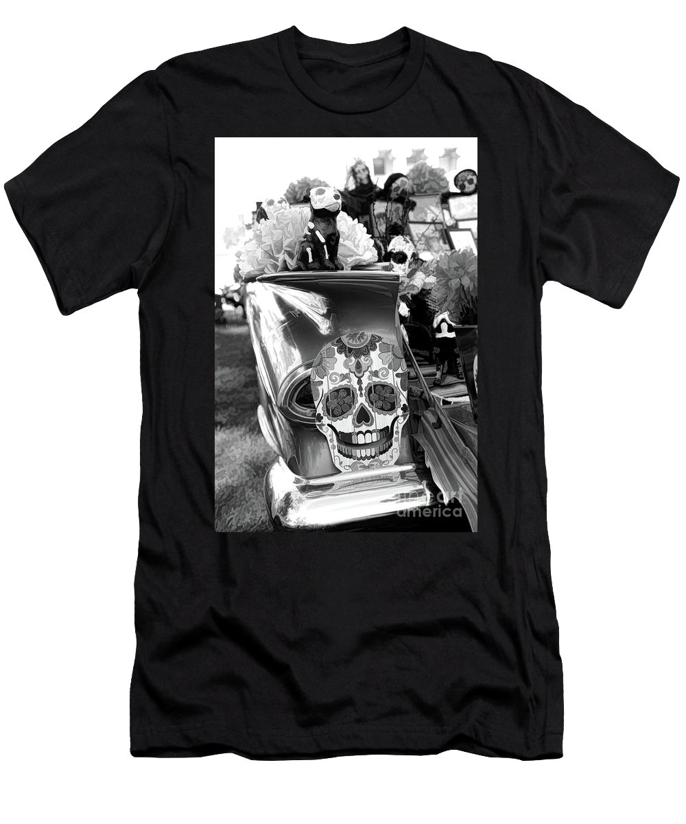Dia De Los Muertos Men's T-Shirt (Athletic Fit) featuring the photograph Chevy Decor Day Of Dead Bw by Chuck Kuhn