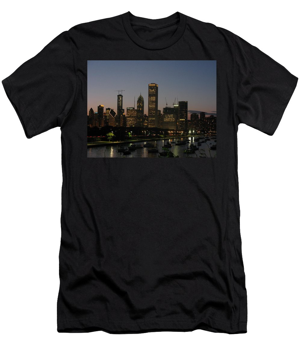 Chicago Men's T-Shirt (Athletic Fit) featuring the photograph Chicago At Night by Brittany Horton