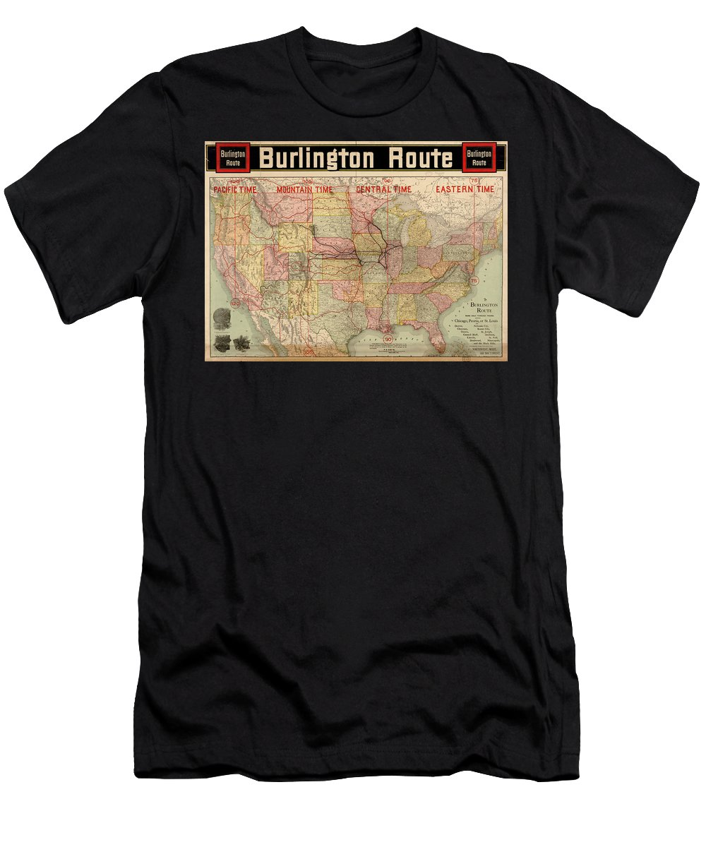 Chicago Men's T-Shirt (Athletic Fit) featuring the painting Chicago, Burlington Route System Map, 1892. by Celestial Images
