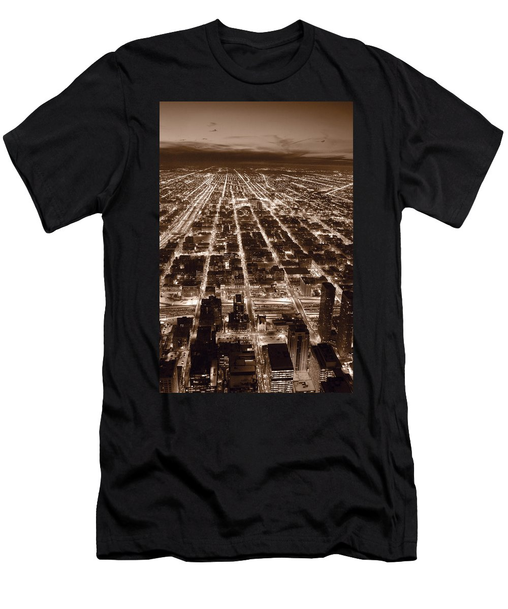 Aerial Men's T-Shirt (Athletic Fit) featuring the photograph Chicago City Lights West B W by Steve Gadomski