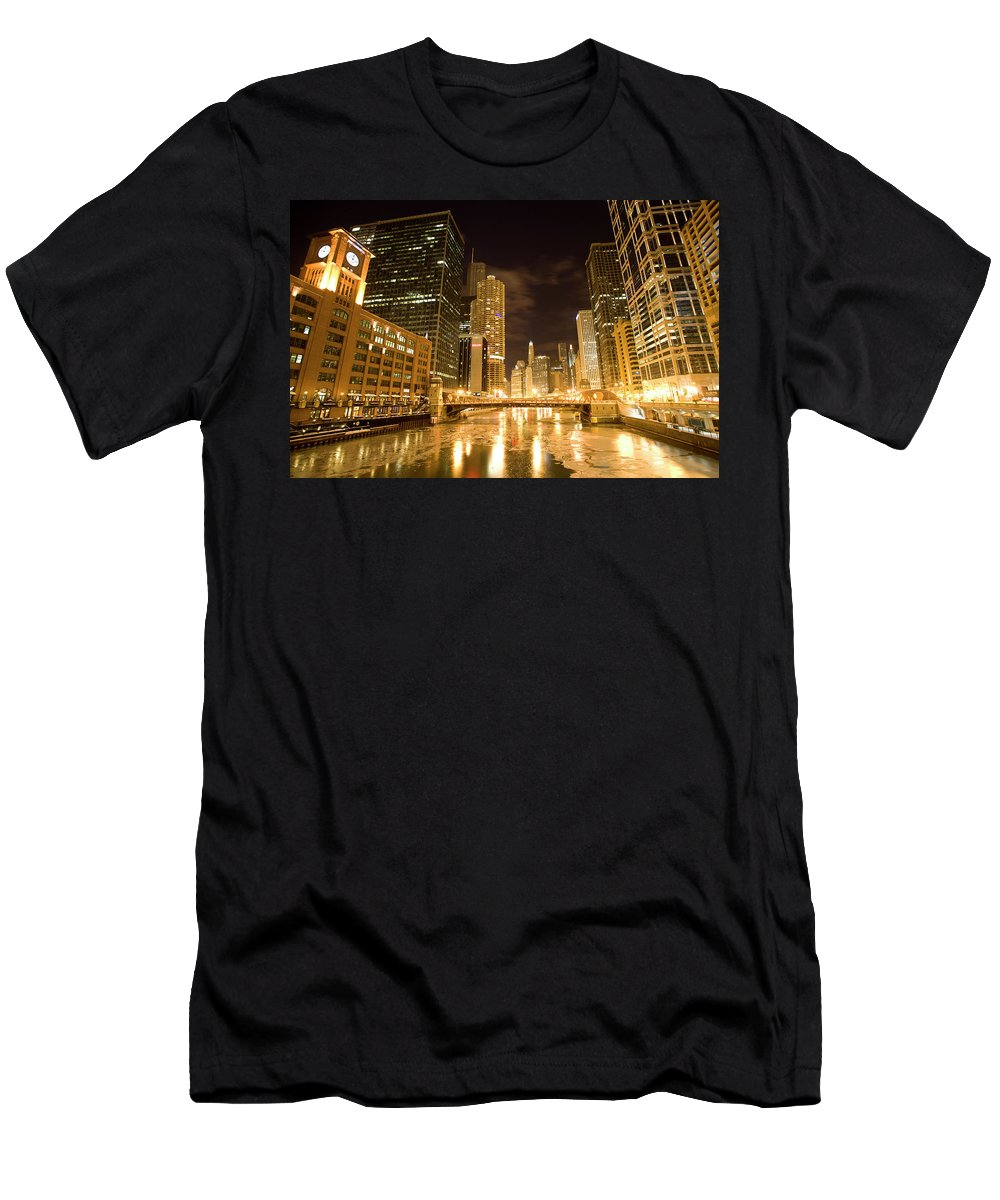Chicago Men's T-Shirt (Athletic Fit) featuring the digital art Chicago Downtown City Night Photography by Mark Duffy