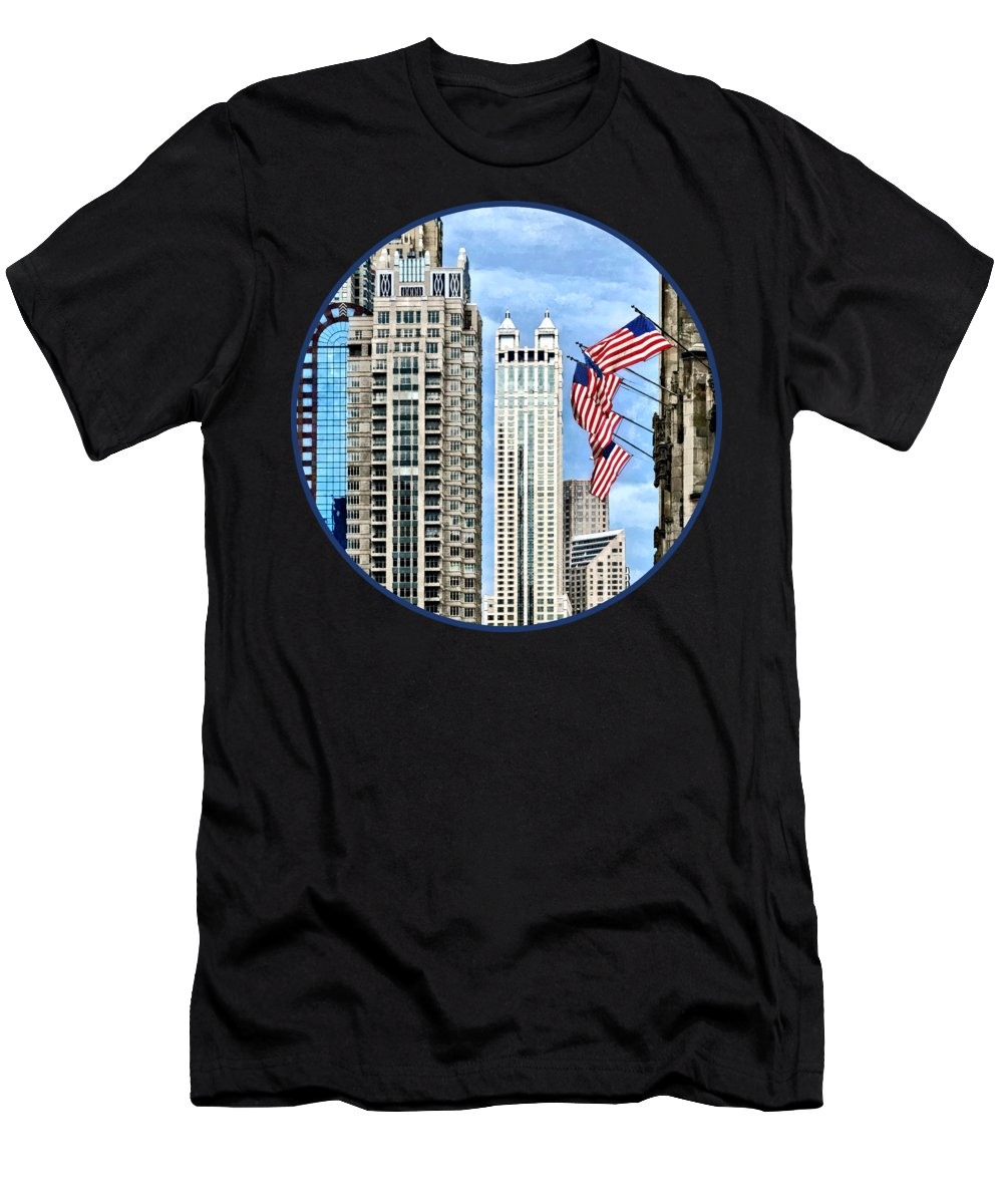 Chicago Men's T-Shirt (Athletic Fit) featuring the photograph Chicago - Flags Along Michigan Avenue by Susan Savad