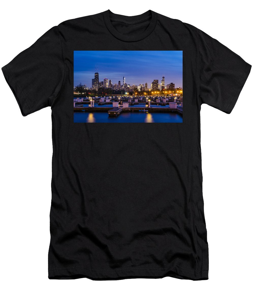 Chicago Men's T-Shirt (Athletic Fit) featuring the photograph Chicago Harbor View At Night by Jasmin Omerovic