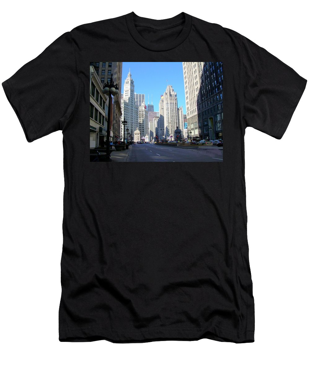 Chicago Men's T-Shirt (Athletic Fit) featuring the photograph Chicago Miracle Mile by Anita Burgermeister