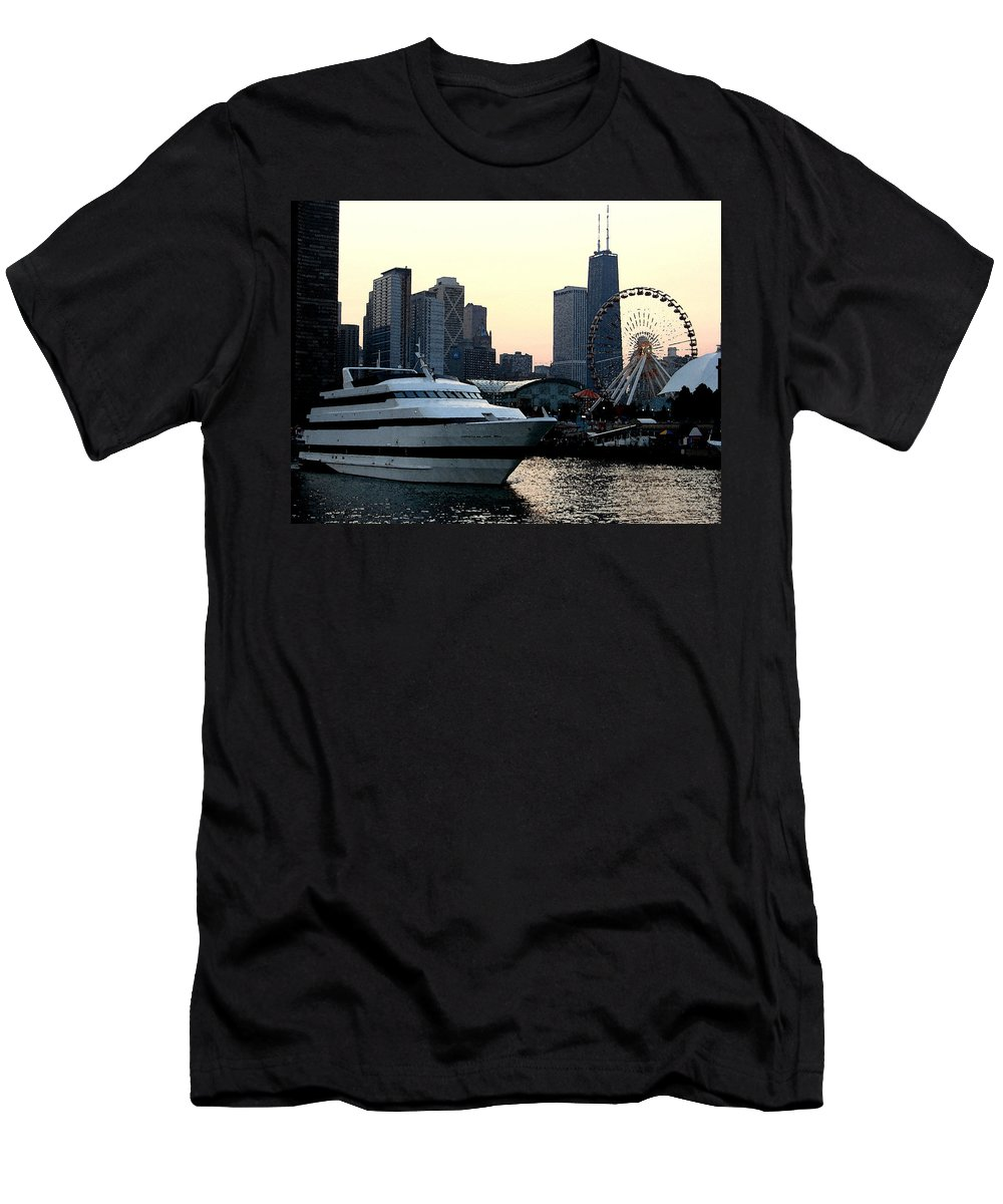 Photo Men's T-Shirt (Athletic Fit) featuring the photograph Chicago Navy Pier by Glory Fraulein Wolfe