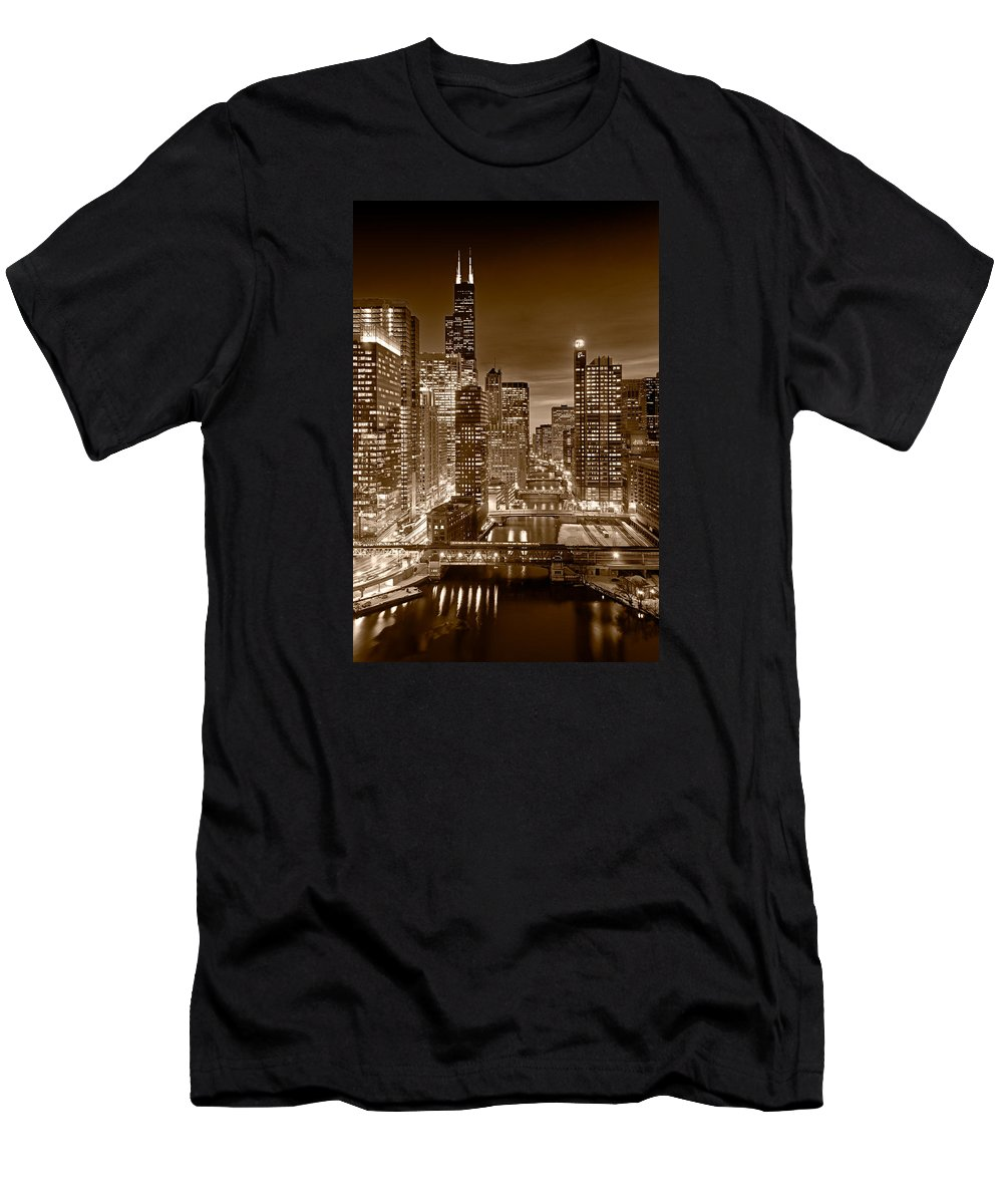 Boeing Men's T-Shirt (Athletic Fit) featuring the photograph Chicago River City View B And W by Steve gadomski