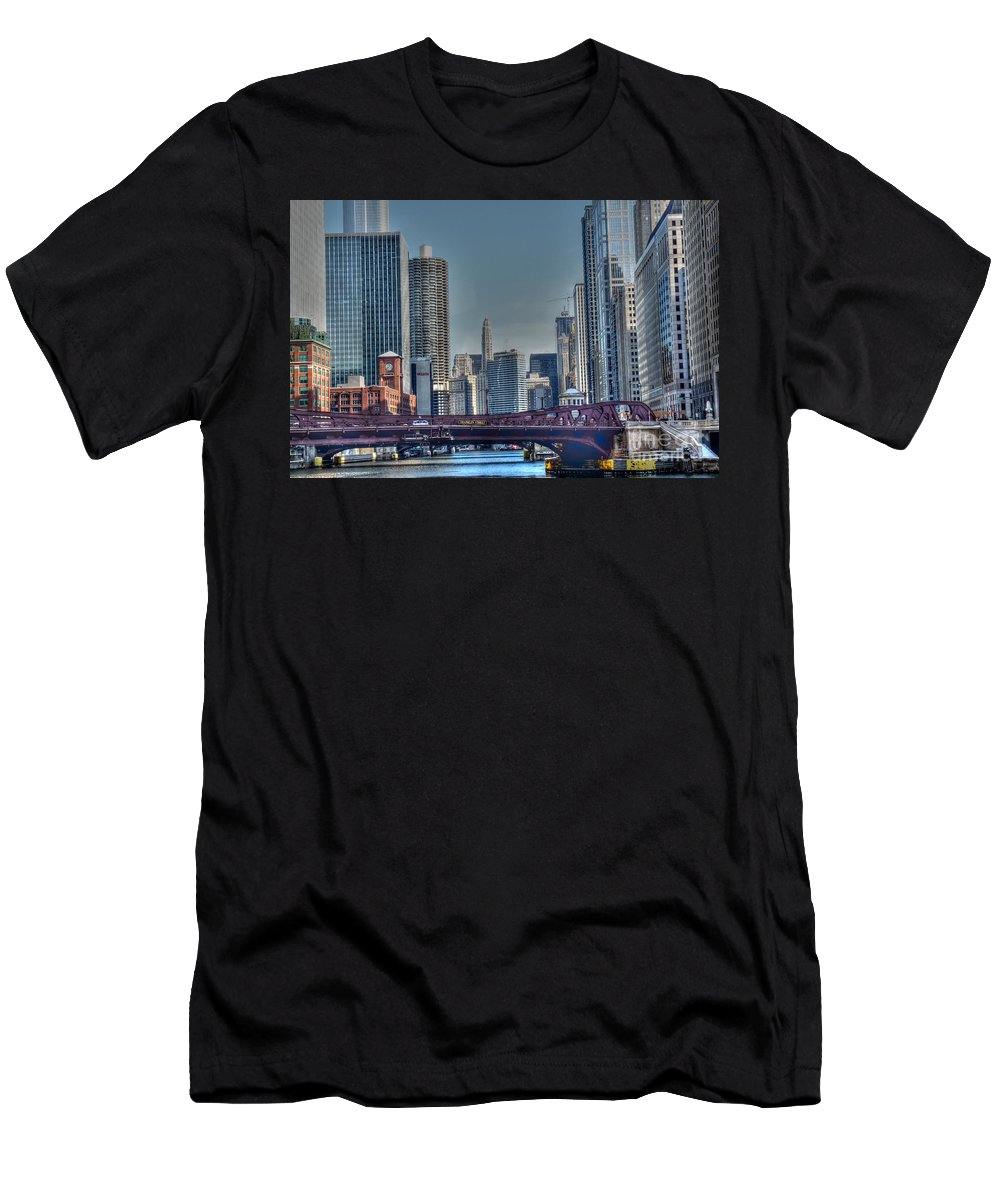 Chicago Illinois Men's T-Shirt (Athletic Fit) featuring the photograph Chicago River East by David Bearden