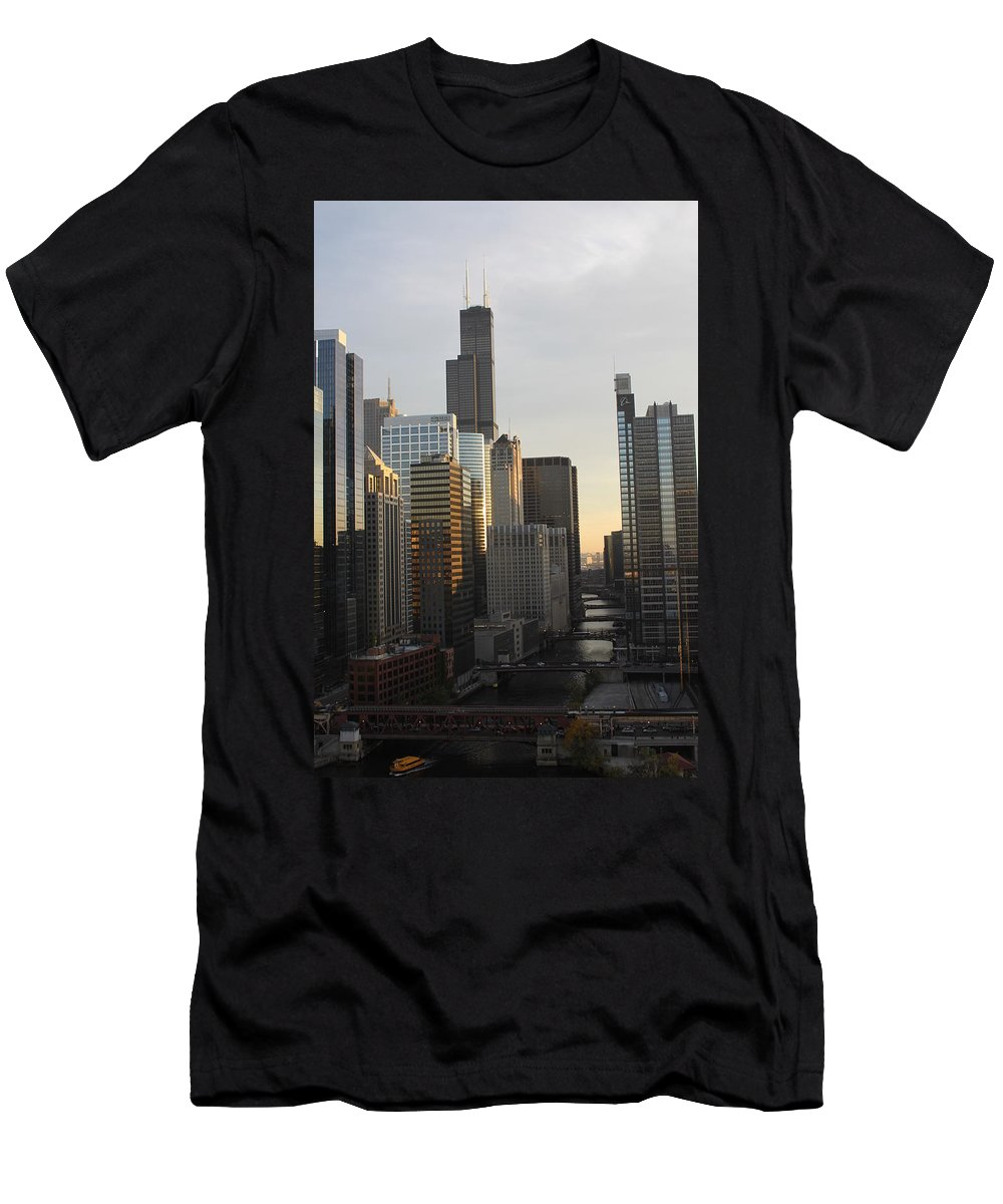 Chicago Men's T-Shirt (Athletic Fit) featuring the photograph Chicago River View by Lauri Novak