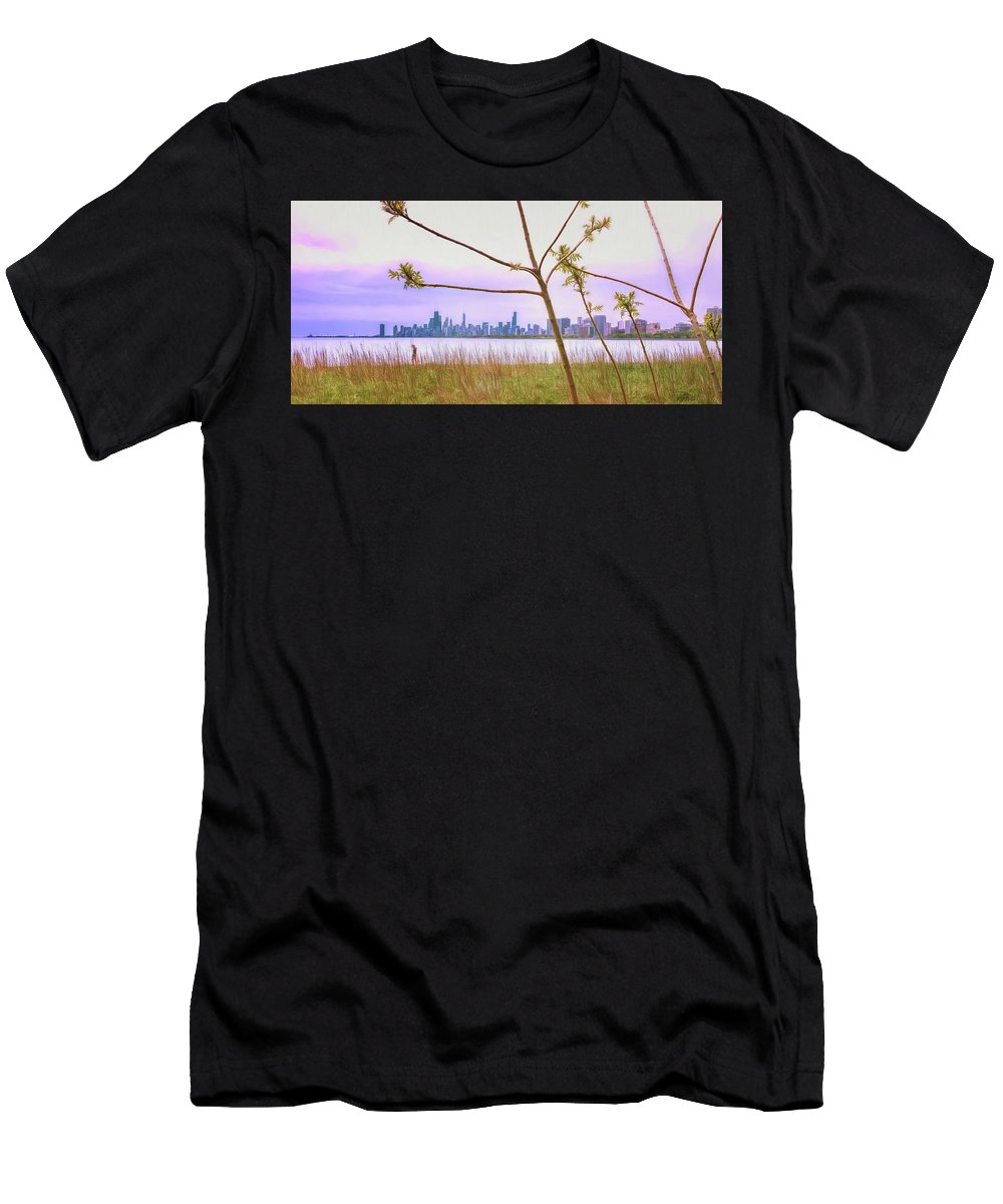 Cityscape Men's T-Shirt (Athletic Fit) featuring the photograph Chicago Skyline - The View From Montrose Point by Wes Iversen