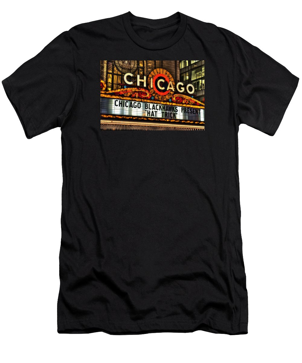 Chicago Men's T-Shirt (Athletic Fit) featuring the photograph Chicago Theater Marquee by Daniel Hagerman