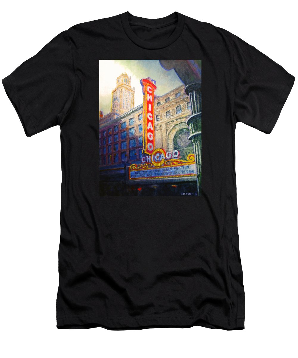 Chicago Men's T-Shirt (Athletic Fit) featuring the painting Chicago Theater by Michael Durst