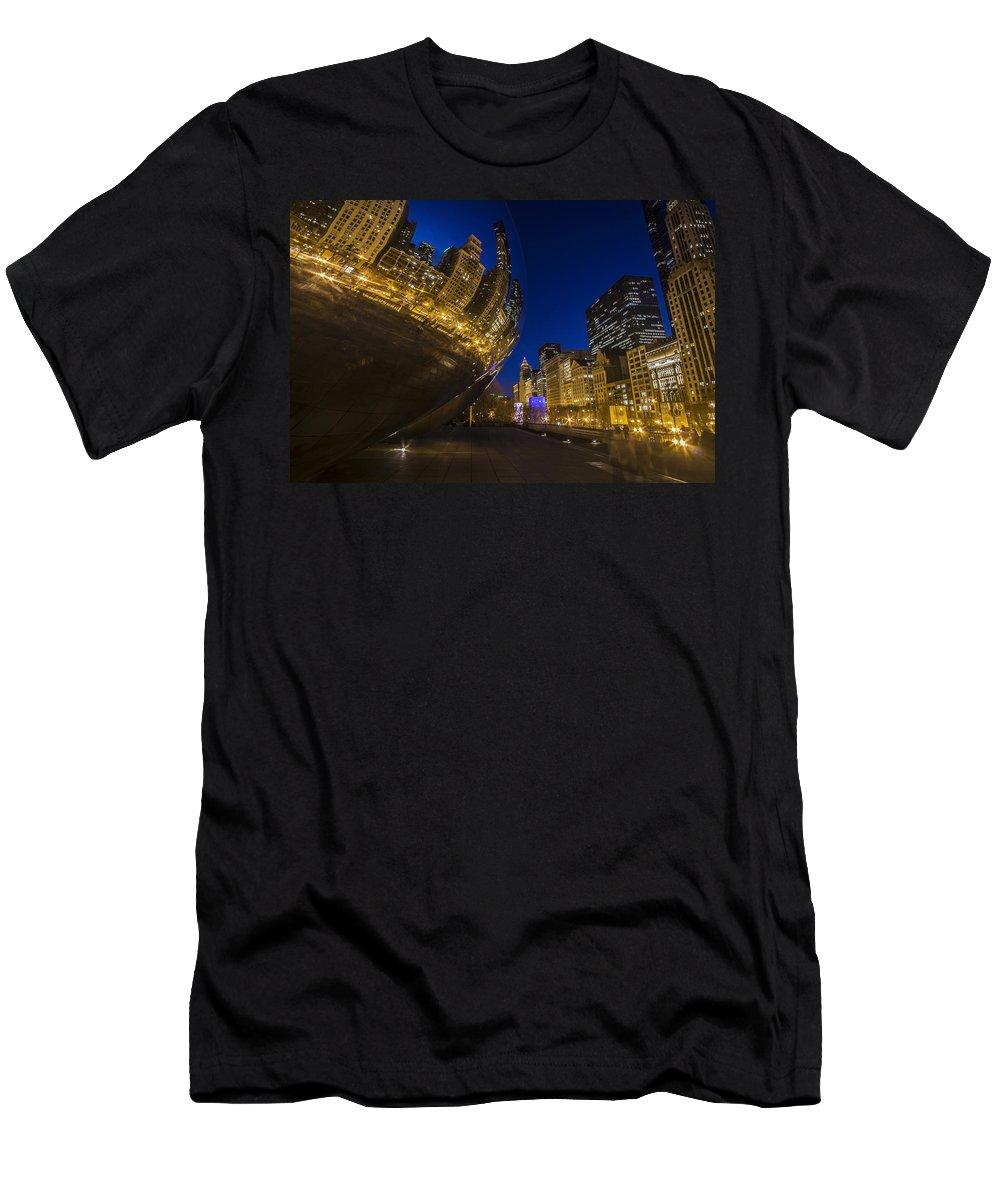 Bean Men's T-Shirt (Athletic Fit) featuring the photograph Chicago's Millenium Park At Dusk by Sven Brogren