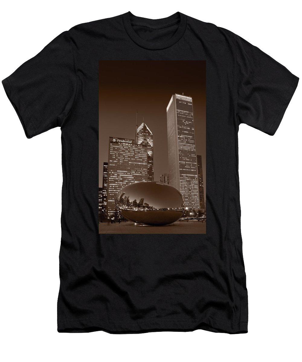 Black Men's T-Shirt (Athletic Fit) featuring the photograph Chicagos Millennium Park Bw by Steve Gadomski