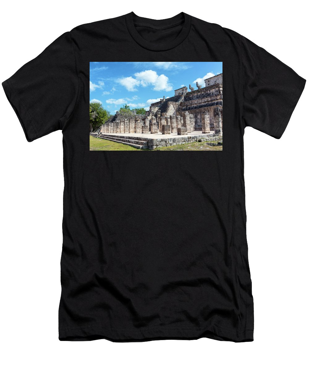 Chichen Itza Men's T-Shirt (Athletic Fit) featuring the photograph Chichen Itza Temple Of The Warriors by Jess Kraft