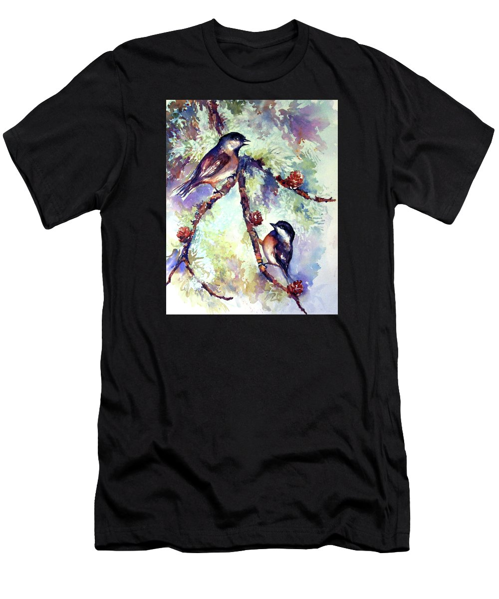 Chickadees Men's T-Shirt (Athletic Fit) featuring the painting Chickadees On Twig by Peggy Wilson
