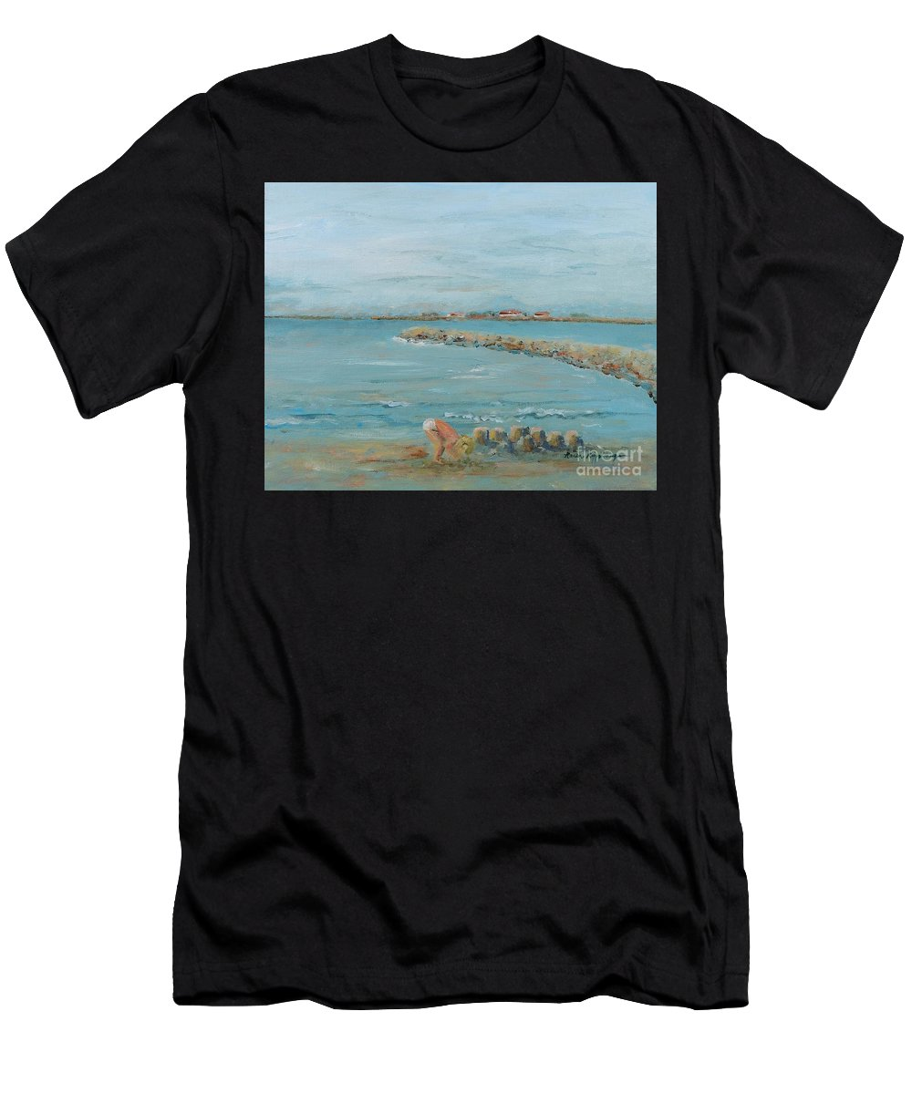 Beach Men's T-Shirt (Athletic Fit) featuring the painting Child Playing At Provence Beach by Nadine Rippelmeyer