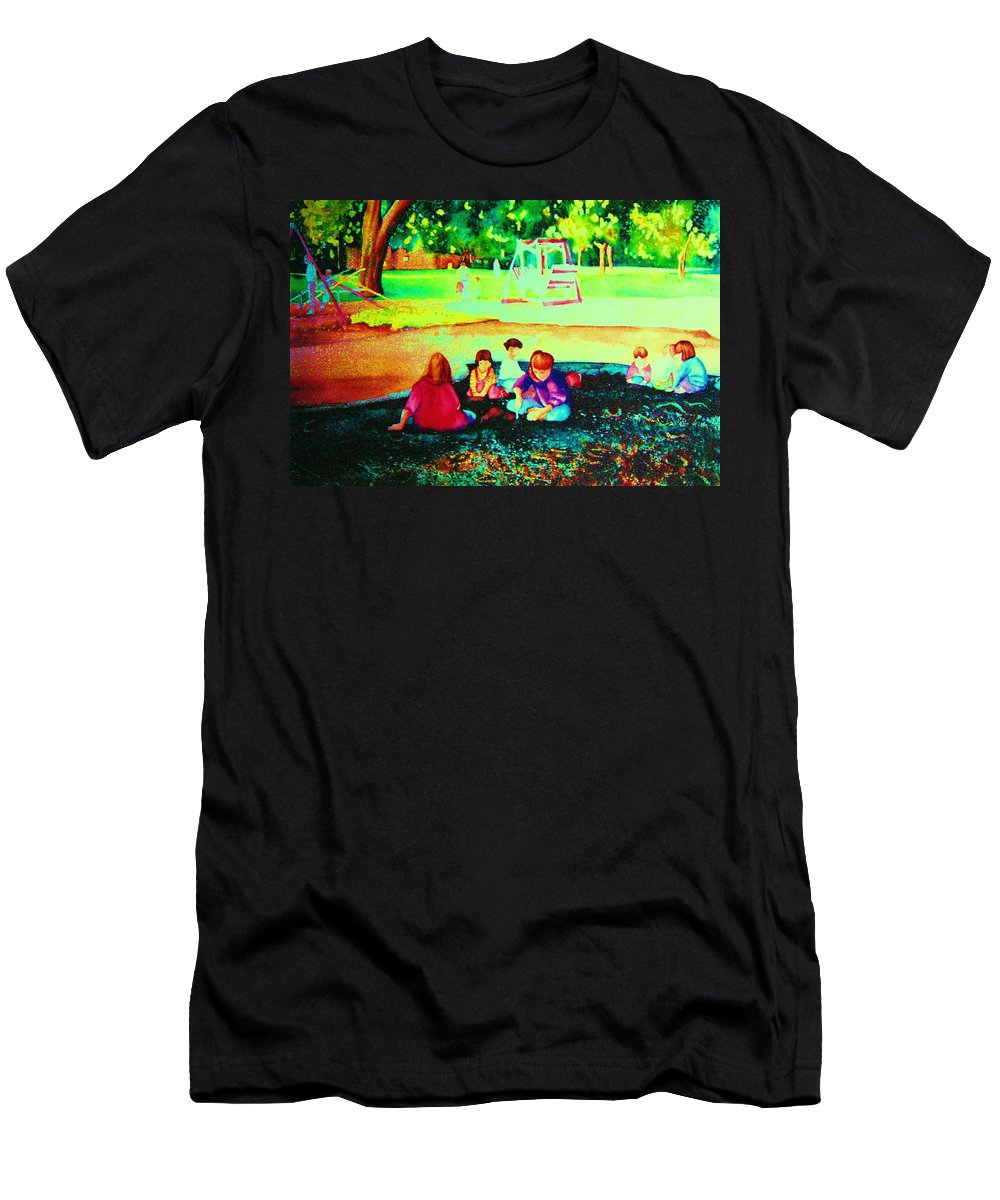 Central Park Men's T-Shirt (Athletic Fit) featuring the painting Childs Play by Carole Spandau