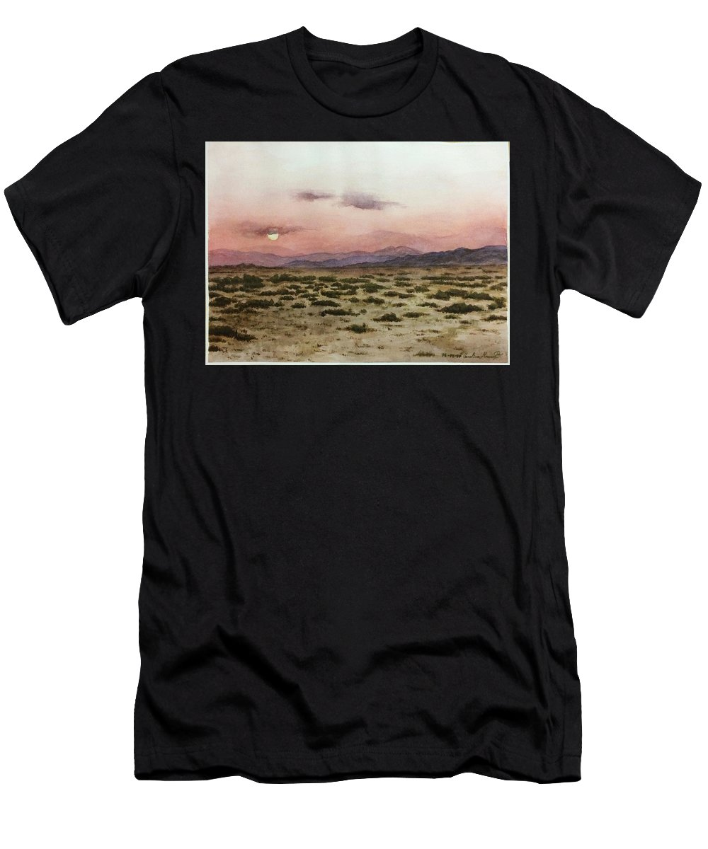 Watercolor Men's T-Shirt (Athletic Fit) featuring the painting Chile Desert by Carola Moreno