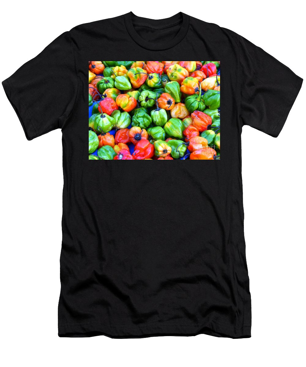 Spices Men's T-Shirt (Athletic Fit) featuring the photograph Chili Pepper Fest by Carlos Amaro