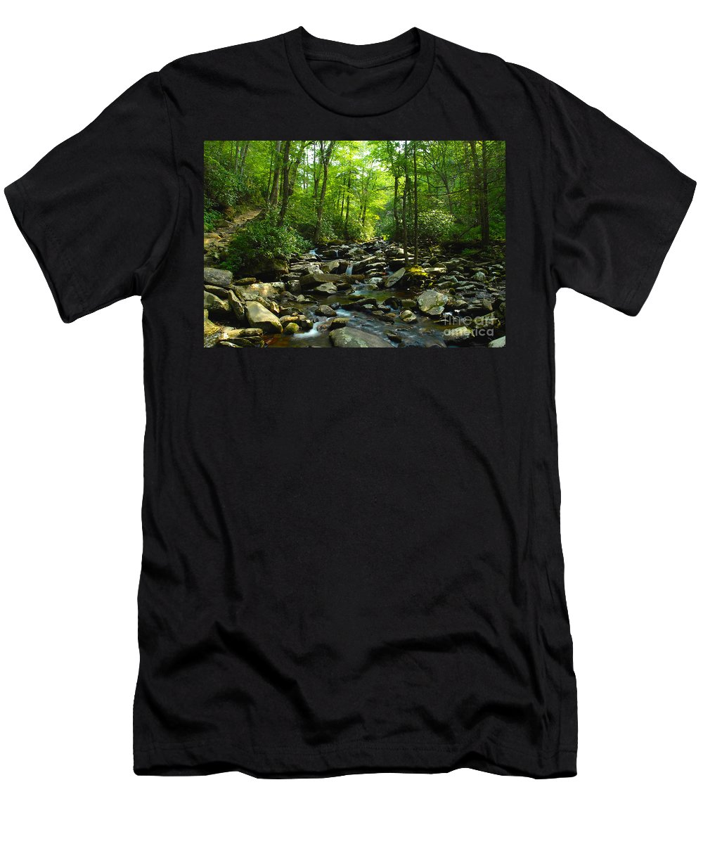 Trail Men's T-Shirt (Athletic Fit) featuring the photograph Chimney Tops Trail by David Lee Thompson