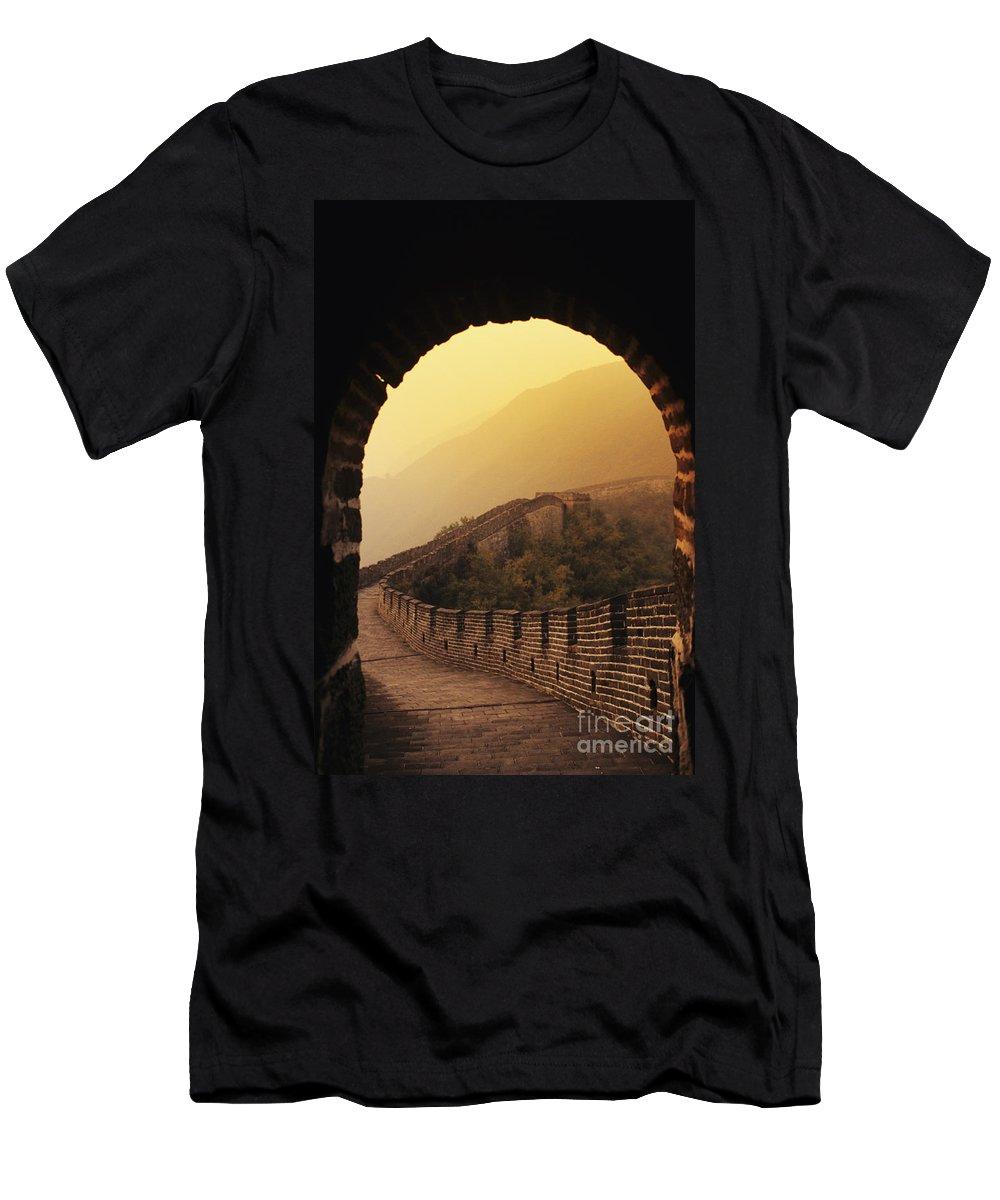 Afar Men's T-Shirt (Athletic Fit) featuring the photograph China, Mu Tian Yu by Gloria & Richard Maschmeyer - Printscapes