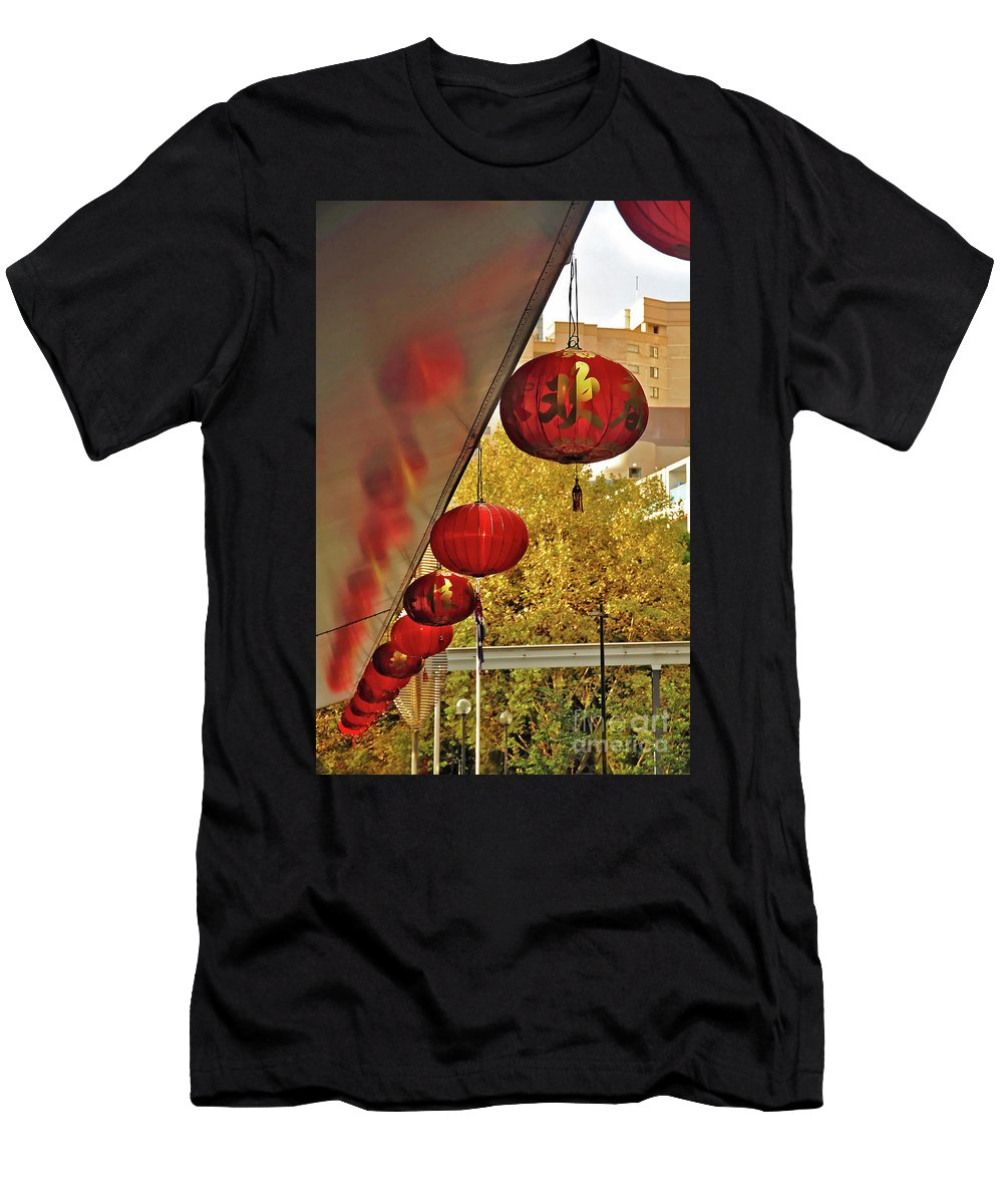 Chinatown Men's T-Shirt (Athletic Fit) featuring the photograph Chinatown - Chinese Lanterns by Kaye Menner