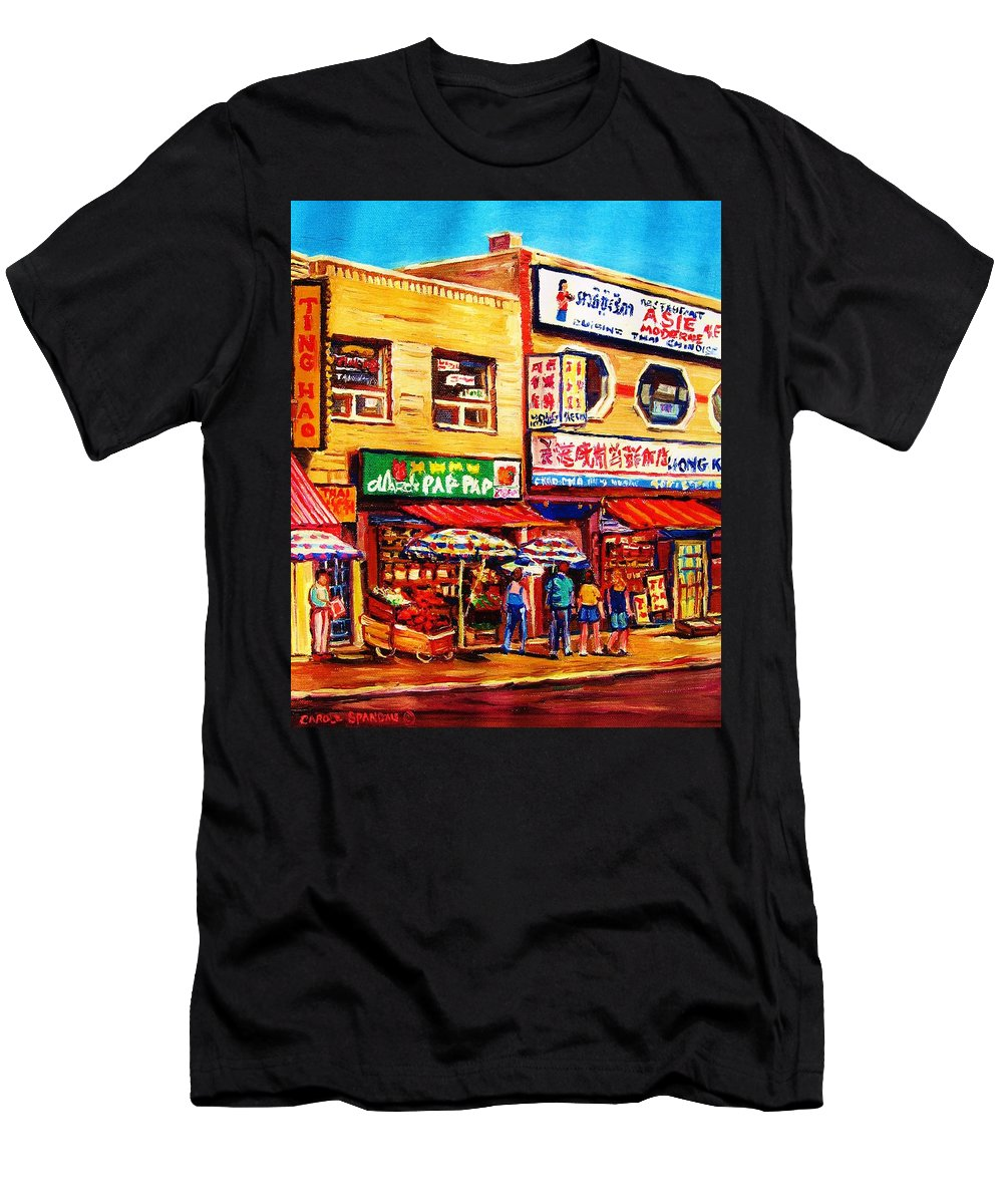 Montreal Men's T-Shirt (Athletic Fit) featuring the painting Chinatown Markets by Carole Spandau