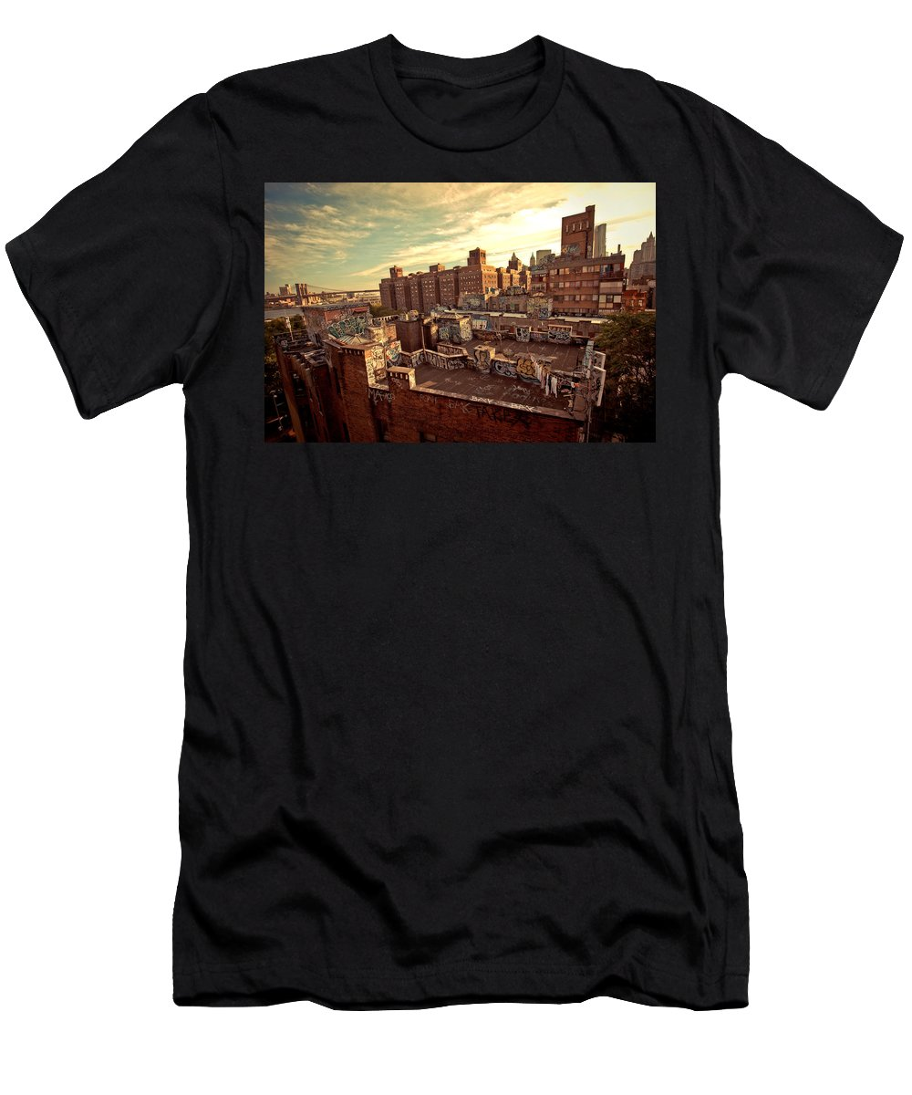 New York City Men's T-Shirt (Athletic Fit) featuring the photograph Chinatown Rooftop Graffiti And The Brooklyn Bridge - New York City by Vivienne Gucwa