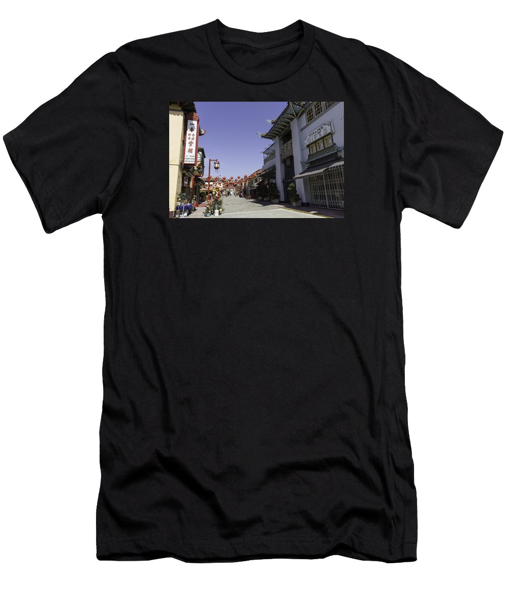 Teresa A Mucha Men's T-Shirt (Athletic Fit) featuring the photograph Chinatown Shops by Teresa Mucha