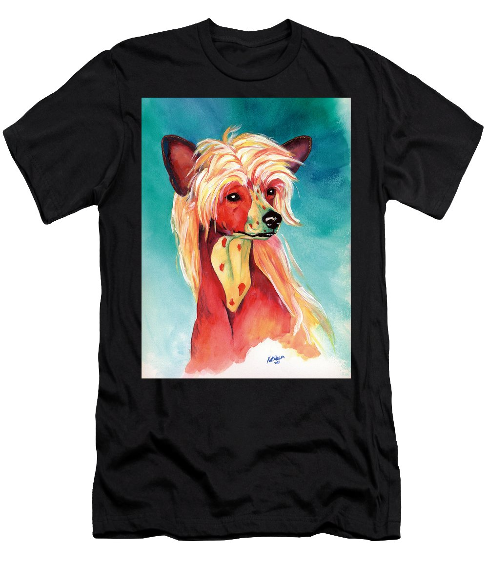 Art Men's T-Shirt (Athletic Fit) featuring the painting Chinese Crested Sunset by Kathleen Sepulveda