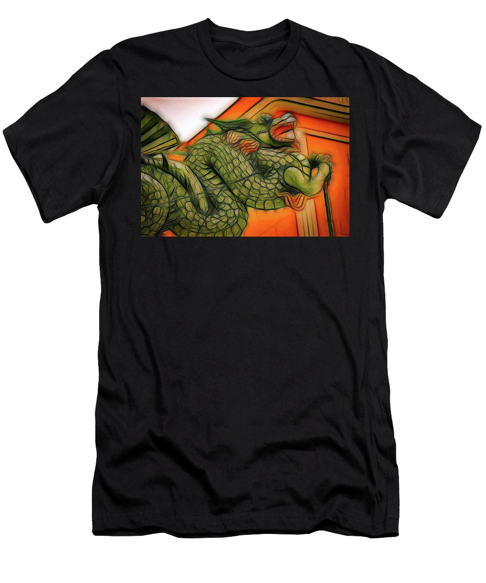 Abstract Art Men's T-Shirt (Athletic Fit) featuring the photograph Chinese Dragon Art by David Coleman