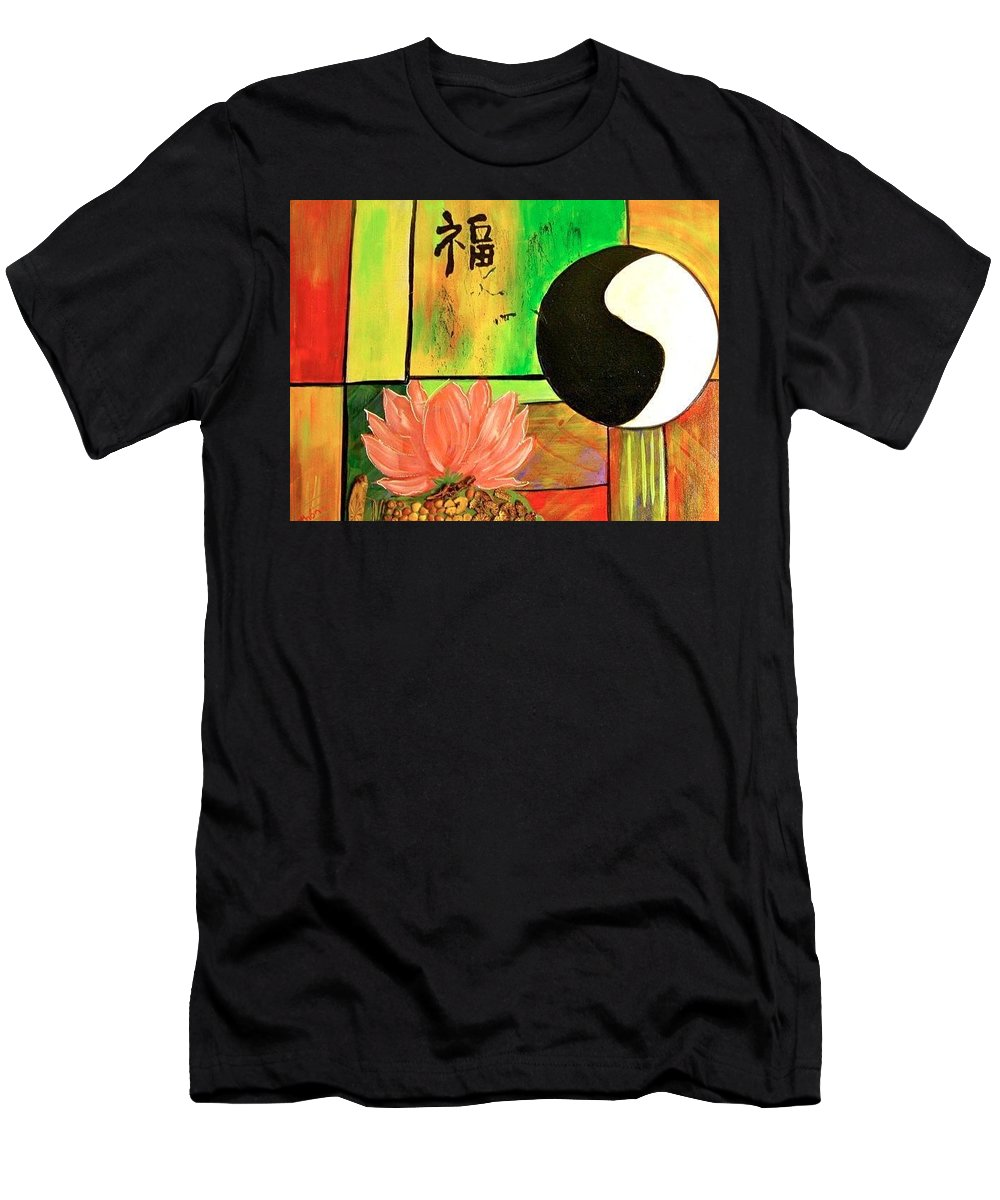 Yin Yang Men's T-Shirt (Athletic Fit) featuring the painting Chinese Medicine by Kathy Othon